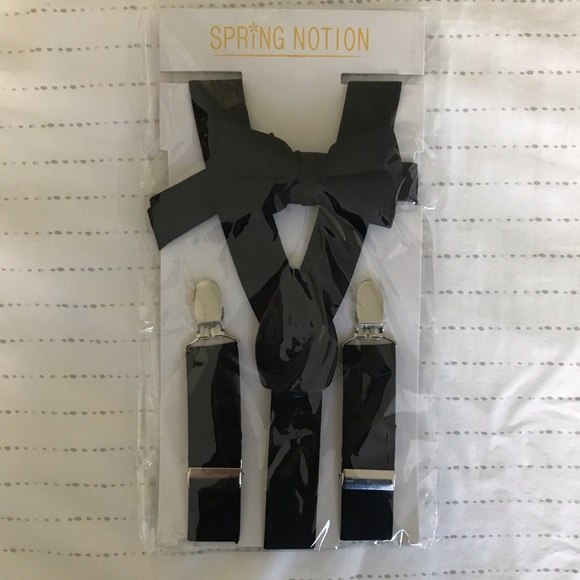 Spring Notion Boys Suspenders and Solid Color Bowtie Set